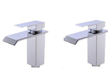Cecipa 2X Mitigeur Lavabo Cascade Robinet Salle de Bain Chrome Bec Aplati Rectangulaire Valve Épargnant D'eau Robinet de Lavabo Design Élégant
