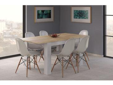 Table à manger extensible Caruso, chêne canadien et couleur blanche artik, cm 78 x 140 x 90 - Dmora