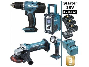Pack Starter Makita 18V: Perceuse 42Nm DDF453 + Meuleuse 115mm DGA452 + Radio DMR108 + Lampe torche DEADML802 + 3 batteries 3Ah + 2 coffrets MAKPAC