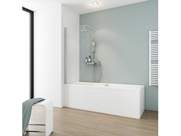 Pare-baignoire rabattable, 80 x 140 cm, verre 5 mm, paroi de baignoire 1 volet Capri, écran de baignoire pivotant Schulte, Verre transparent, profilé aspect chromé - Transparent