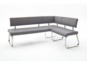 Banc d'angle réversible design métal chromé et PU Doris Gris - Blanc, noir, gris, marron clair ou marron