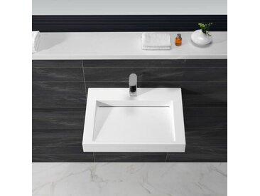 Lavabo Suspendu Rectangulaire - Solid surface Blanc Mat - 60x46 cm - Soft