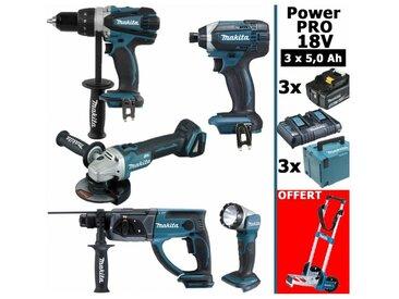 Pack Power PRO 18V: Perceuse 91Nm DDF458 + Perfo 2J DHR202 + Meuleuse 125mm DGA504 + Visseuse à chocs 165Nm DTD152 + Lampe Torche + 3 batt 5Ah + 3 coffrets + OFFERT 1 chariot diable MAKITA