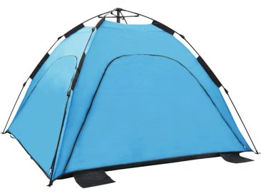 Tente de plage escamotable avec 2 fenêtres en maille et 2 portes à fermeture éclair 220x220x160 cm Bleu