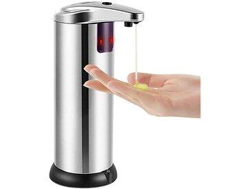 Distributeur de savon, distributeur de savon automatique sans contact, détecteur de mouvement infrarouge Plat en acier inoxydable Distributeur de savon à main automatique mains libres liquide, base étanche améliorée
