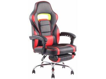 Fauteuil de bureau ergonomique avec repose-pieds extensible accoudoirs noir/rouge
