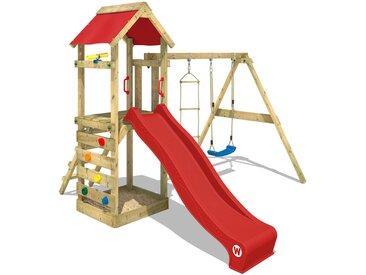 Aire de jeux bois WICKEY FreeFlyer avec toboggan, bac à sable et balançoire, rouge