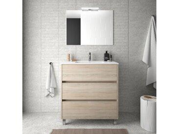 Meuble de salle de bain sur le sol 80 cm marron Caledonia avec lavabo en porcelaine | Avec colonne, miroir et lampe LED