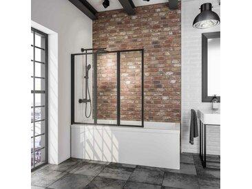 Pare-baignoire rabattable, sans percer, paroi de baignoire Schulte, écran de baignoire pivotant à coller, profilé noir, verre 3 mm transparent, 3 volets, 127 x 120 cm - Transparent