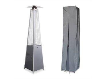 Chauffage d'extérieur avec housse - Arctic 13kW Gris clair - Parasol chauffant gaz pyramide