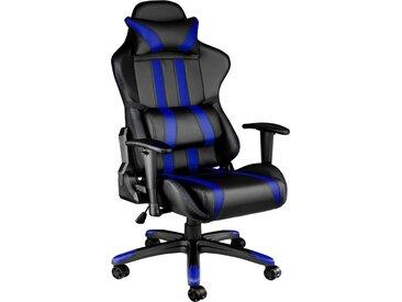 Chaise Gamer RACING SPORT avec Coussins - Hauteur Réglable - Inclinable Pivotante Noir / Bleu