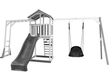 """Beach Tower avec structure de jeu et Nid ovale """"Roxy"""" blanc/gris - avec toboggan gris"""