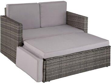 Canapé de jardin CORFOU 2 Places Modulable en Bain de soleil 1 Tabouret avec Coussins en Résine Tressée Cadre en Acier Gris