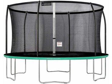 GREADEN Trampoline extérieur rond Freestyle vert 360 fitness Jardin Ø 366cm - Normes EU, Design Exclusif, Ultra sécurisé
