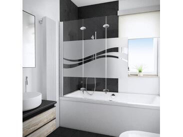 Schulte - Pare-baignoire rabattable 125 x 140 cm, verre 5 mm, paroi de baignoire 3 volets, écran de baignoire pivotant, décor Liane, profilé aspect chromé, YoungLine Décor liane