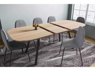 Deco In Paris - Table à manger extensible plaqué chêne pieds métal 6-8 personnes AGUSTIN