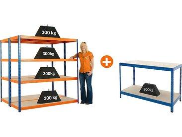 Mega Deal | Lot promo de 2 x étagères métalliques pour charges lourdes + 1 établi| Profondeur 60 cm | 300 kg charge