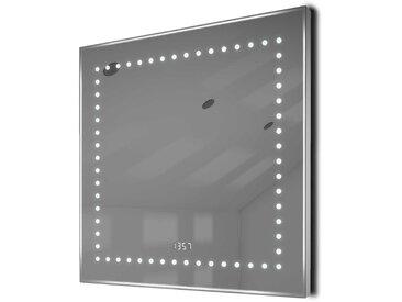 Miroir Toilette Horloge, Rétrolumineux, Bluetooth, Anti-Buée, Capteur K183Waud - Couleur LED : Blanc