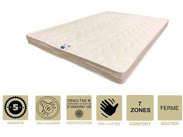 Matelas Ferme avec Latex Naturel + Alèse 80x200 x 10 cm + Oreiller Visco - 7 zones de Confort - Ame Poli Lattex HD Haute Résilience - Hypoallergénique