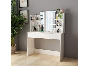 Coiffeuse - avec Miroir et Tabouret, Moderne, Grand Tiroir, 6 Étagères, 108x40x142cm Blanc-Mondeer