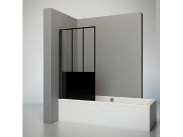 Schulte - Pare-baignoire rabattable, 80 x 140 cm, verre 5 mm, paroi de baignoire 1 volet, écran de baignoire pivotant profilé noir, verrière industrielle,, décor carré, traitement anticalcaire - Verrière