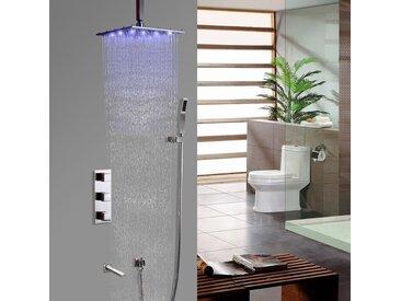 Système thermostatique moderne de douche de pluie sur plafond balayé au nickel brossé avec Vanne de douche thermostatique Barre de douche Avec LED 200 mm