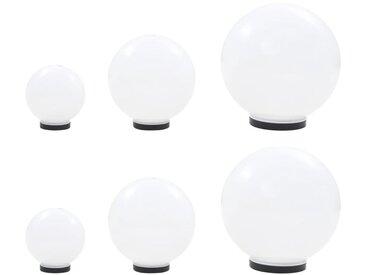 Hommoo 6 pcs Jeu de lampe boule à LED PMMA sphérique 20/30/40 cm