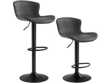 Songmics - Lot de 2 Chaises de bar, Tabourets hauts, Siège de cuisine, hauteur réglable, avec dossier et siège rembourré, repose-pieds, surface matelassée en PU, charge 120kg, Noir LJB074B01 - Noir
