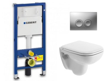 Duravit Pack WC Geberit UP100 Duofix + Cuvette D-Code Duravit Rimless + abattant SoftClose + Plaque de commande Delta21 (DCODESET3)