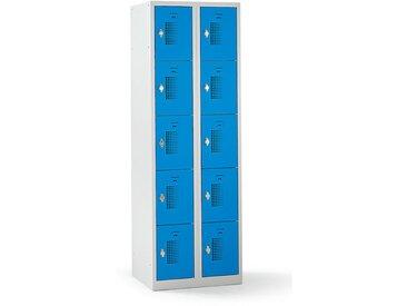 QUIPO – Vestiaire multicases verrouillable par dispositif pour cadenas, 10 cases - h x l x p 1800 x 600 x 500 mm, bleu
