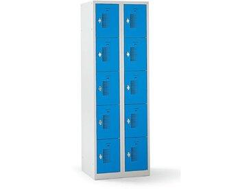 QUIPO – Vestiaire multicases verrouillable par dispositif pour cadenas, 10 cases - h x l x p 1800 x 600 x 500 mm, bleu - Coloris des portes: Bleu clair RAL 5012