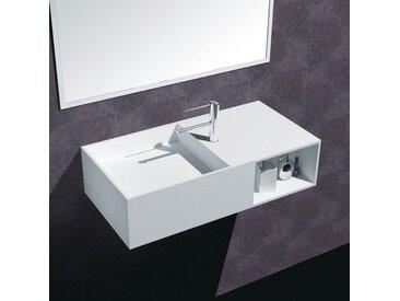 Lavabo Suspendu Rectangulaire - Composite Blanc Mat - 80x40 cm - Composed