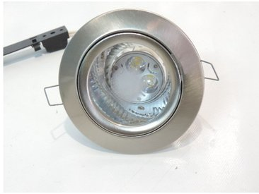 Spot LED 9W fixe Ø 118mm nickel satiné pour lampe blanc froid 6000K GU10 230V avec verre IP44 Erymanthe TRAJECTOIRE 142727
