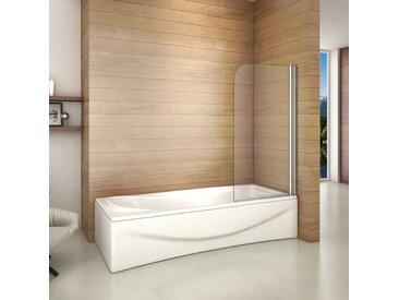 Aica Sanitaire - 80x140cm Porte Pare baignoire pivotant 180° écran de baignoire 6mm verre trempé anticalcaire