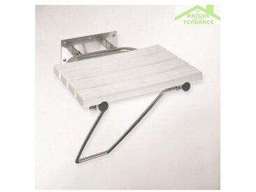 Siège de douche rabattable avec jambe de sécurité en acier brossé