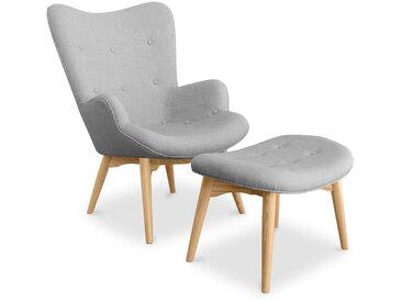 Fauteuil avec repose-pieds Kontor - design scandinave Gris clair
