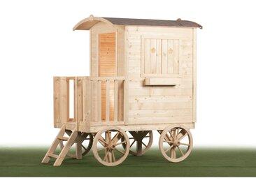 Maison Roulotte Enfant en bois naturel