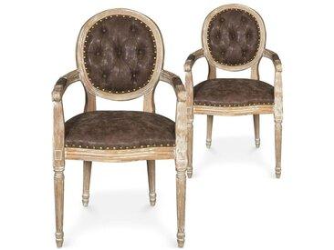 Lot de 2 chaises médaillon Louis XVI Dynasty Tissu Marron clouté