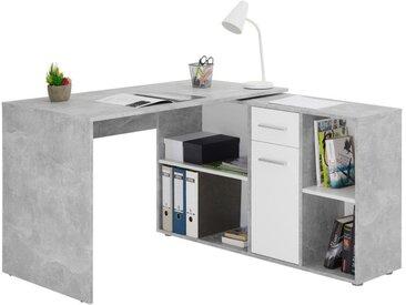 Idimex - Bureau d'angle CARMEN table avec meuble de rangement intégré et modulable 4 étagères 1 porte et 1 tiroir, décor béton/blanc
