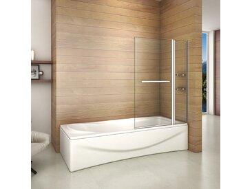 Aica Sanitaire - Pare baignoire 100x140cm paroi de douche rectangle pivotante à 240 degré securit avec porte-serviette