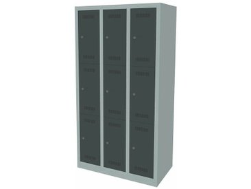Certeo - Bisley Vestiaire multicases MonoBloc™, 3 casiers par compartiment, largeur 900 mm, 3 compartiments, 9 casiers, coloris - Coloris des portes: anthracite