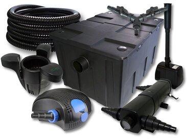 SunSun Kit filtration de bassin 60000l avec 18W Stérilisateur 100W Pompe 25m Tuyau Skimmer Fontaine