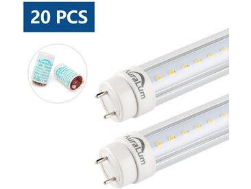 20x Auralum 120cm Tube LED 20Watt T8 G13 Lumière Fluorescente 2100LM LED Tube avec Starters Blanc Naturel 4000K