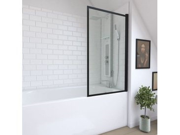 Aurlane - Pare baignoire pivotant - profiles noir mat - dim: 130x75cm - verre transparent 4mm - CONTOURING