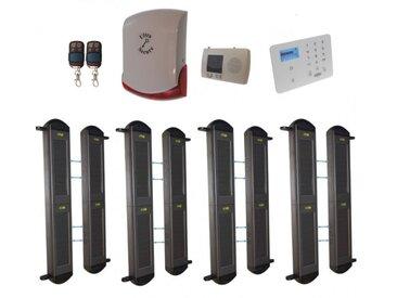 Kit complet 4 détections barrières FX 2B portée 900m + alerte GSM appel/SMS + sirène sans-fil puissante (gamme FX/KP)