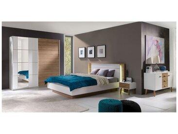Chambre à coucher complète ARTUR. Lit avec coffre 180x200 cm + sommier + chevets + commode + armoire + MATELAS MEMOIRE DE FORME