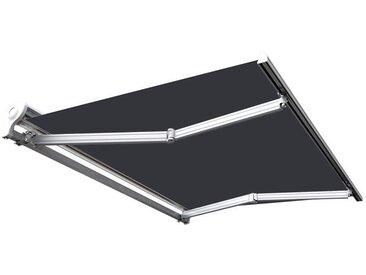 Store banne manuel Demi coffre pour terrasse - Gris anthracite - 3,6 x 3 m