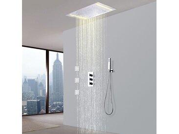 Robinet de douche thermostatique avec tête de douche encastrable au plafond