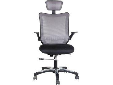 Chaise pivotante de bureau Optima - avec dossier respirant et appuie-tête, gris