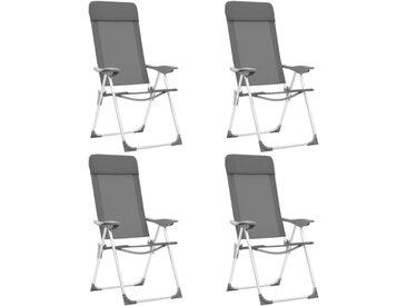 Chaises de camping pliables 4 pcs Gris Aluminium